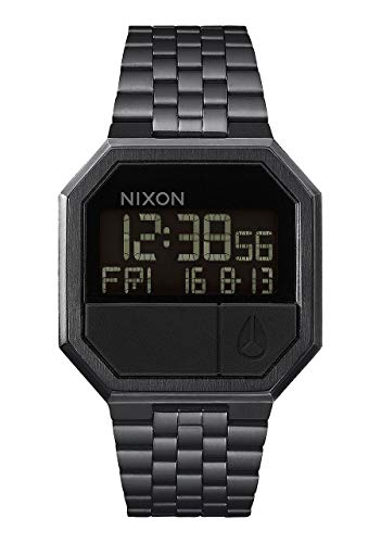 NIXON Re-Run A158 - All Black - 30m Water Resistant Men's Digital Fashion Watch (38.5mm Watch Face, 18mm-13mm Stainless Steel Band) (Black Square Watch Metal)