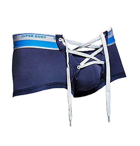- Mens Cotton Sexy Underwear with Long Drawstring Cute Sexy Lingerie Boxer Briefs Navy 29-31 Inches