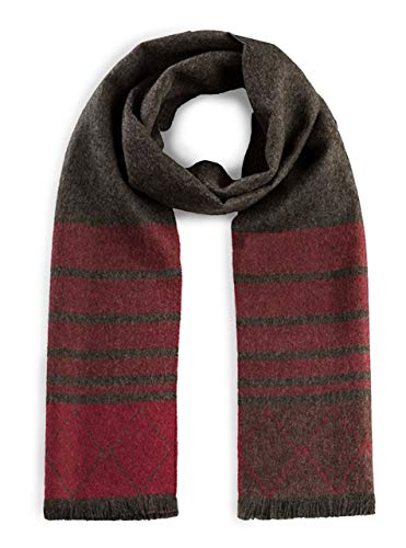 Alpaca Wool Scarf - 100% Pure Baby Alpaca Wool - Diamond Stripe with Eyelash Fringe (Burgundy/Charcoal) ()