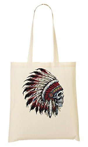 à Fourre Sac tout provisions Crazy Skull Indian Sac ShutUp Artwork A4X88q