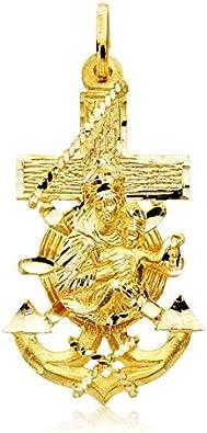 Colgante Cruz Marinera Virgen del Carmen Oro 18K 40mm