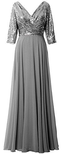 Neck Grau Sleeve Chiffon Dress Sequin 4 Mother Women 3 Gown V MACloth Wedding Formal CgwB14XOqn