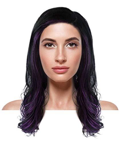Halloween Party Online Fancy Long Curly Wig, Purple/Black