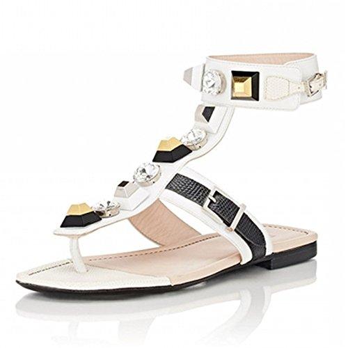 Cute Nine Leather Handmade Shoes Colorful Seven Buckle Heel Flat Slide Genuine Sandal Open White Toe Women's rFPCxrqRw