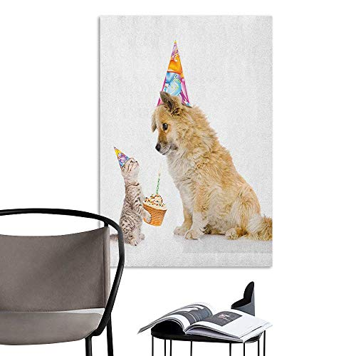 Alexandear Stickers Wall Murals Decals Removable Kids Birthday Cat and Dog Domestic Animals Human Best Friend Party with Cupcake and Candle Multicolor 3D Decorative Sticker W20 x -