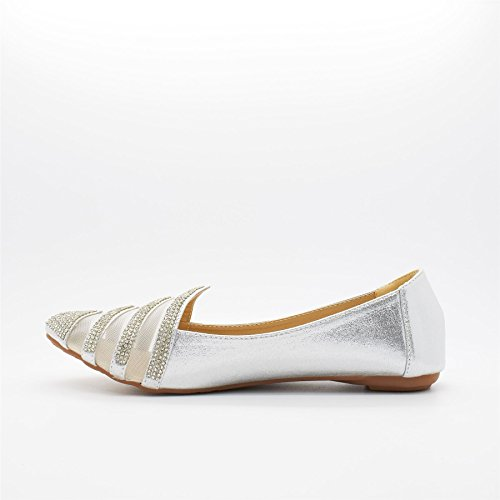 London Footwear Londres calzado Chevron, las mujeres de ballet Flats plata