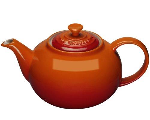 Le Creuset PG0328-002 Volcanic Stoneware Classic Teapot, 1.3 L, Flame