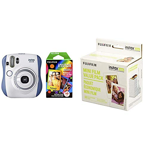 Fujifilm Instax Mini 26 + Rainbow Film Bundle - Blue/White with Instant Film Value Pack - (3 Twin Packs, 60 Total Pictures)