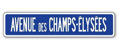 Avenue Des Champs-Elysees Street Sign Tour De France French Europe Paris Gift Metal Sign Present Outdoor Indoor Novelty Wall Plaque Decoration