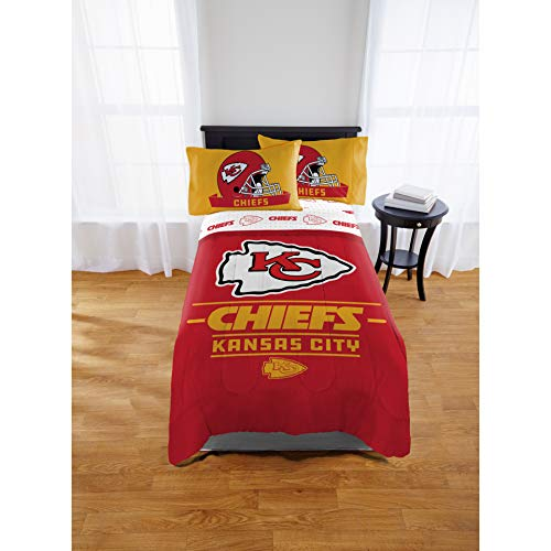 "(Official KansasCityChiefs ""Monument"" Twin/Full Comforter and Full Sheets)"
