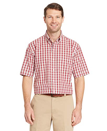 Arrow 1851 Men's Big and Tall Hamilton Poplins Short Sleeve Button Down Plaid Shirt, Rhubarb, Large tall