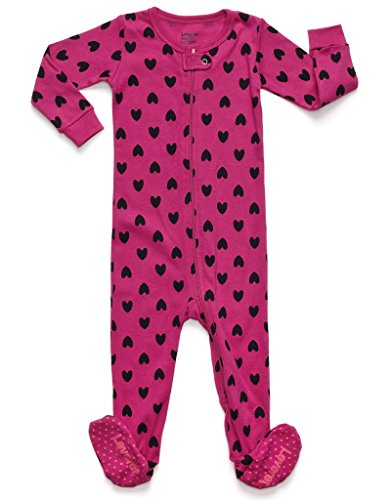 Leveret Kids Hearts Baby Girls Footed Pajamas Sleeper 100% Cotton (Size 12-18 Months)