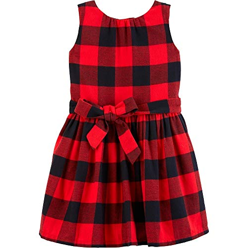 (Carter's Toddler Girls Red and Black Buffalo Plaid Flannel Dress (6-6X))