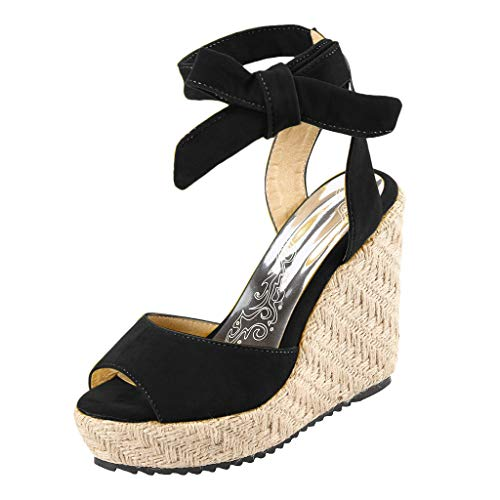 Respctful✿Wedge Sandals for Women's Fashion Flatform Espadrilles Ankle Strap Buckle Open Toe Faux High Heels Black