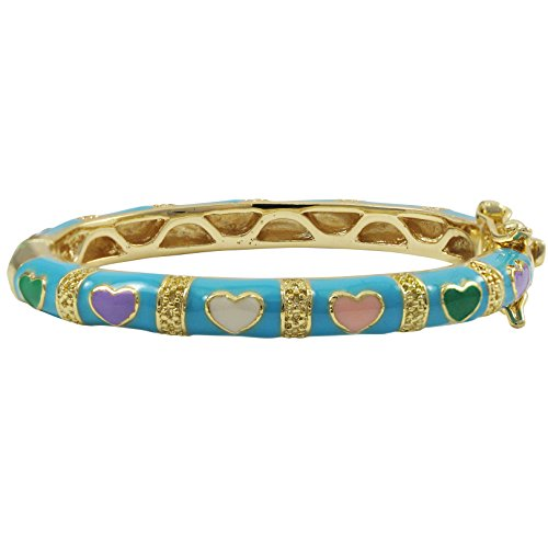 Ivy and Max Gold Finish Aqua Blue Enamel Multi Hearts Girls Bangle Bracelet (35 mm: age 0-10 months) ()
