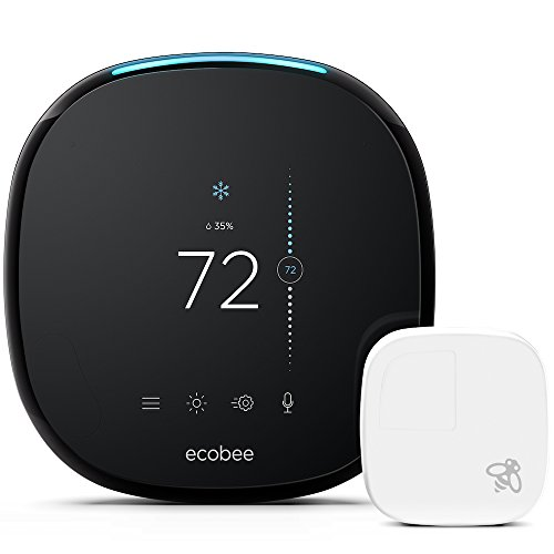 ecobee4 Smart Thermostat with Built-In Alexa, Room Sensor Included (Temperature Control Cover)