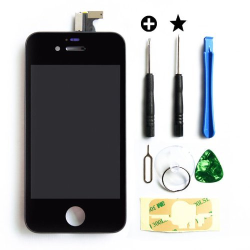 Teenitor Replacement LCD Touch Screen Digitizer Assembly for iPhone 4S Black (Iphone4 Screen Lcd Replacement)