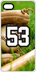 Baseball Sports Fan Player Number 53 Clear Rubber Decorative iPhone 4/4s Case