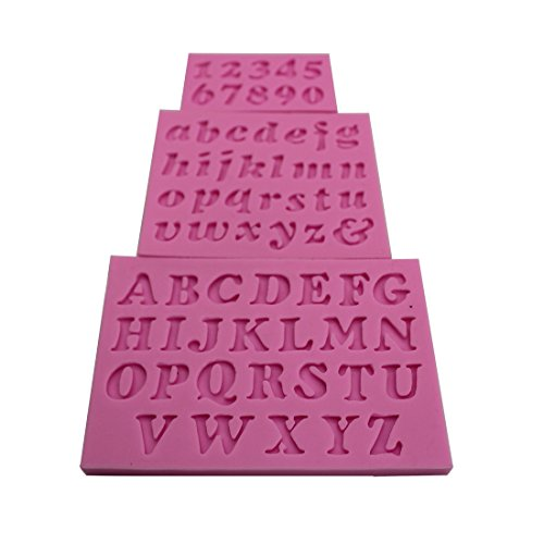 Joylive 3, 3pcs/Set Mini Letter&Number Silicone Handmade Fondant Cake Decorating DIY Mould Mold