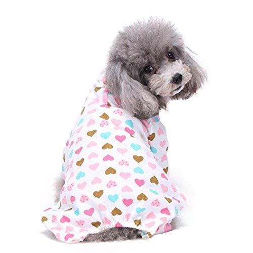 Puppy Dog Cotton Pajamas,Cute Pet Teddy Soft Homewear Jumpsuit (L, Pink) ()