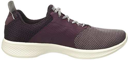 Skechers Women's Go Walk 4-Sustain Trainers, Bkgy, Varies Red (Burgundy)