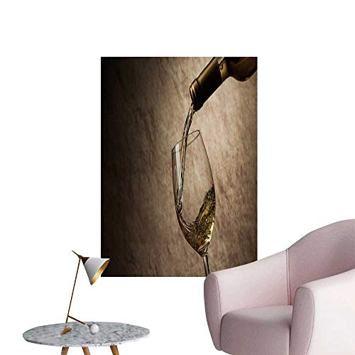 SeptSonne Wall Stickers for Living Room White Wine Glass Bottle Vinyl Wall Stickers Print,24