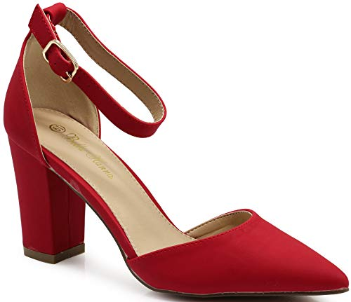(Ivanka Women's Pointy Toe High Mid Chunky Block Heel Sexy Ankle Strap Sandals Ballerina Dress Pump Ballet Wedding Patent Harlow Pump Shoes (10 B(M) US, Red Nubuck))