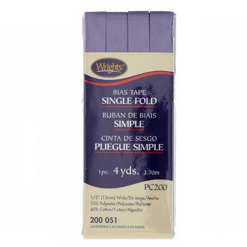 Wrights/Boye 237350 Single Fold Bias Tape 1/2in x 4 Yards - Bias Single Fold Tape Wrights