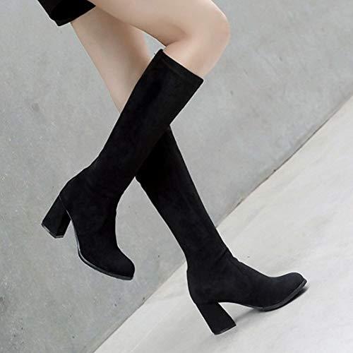 Noir Mode Hiver Femmes Hautes À Taoffen Talon Bottes Chaussures qZz8xftw