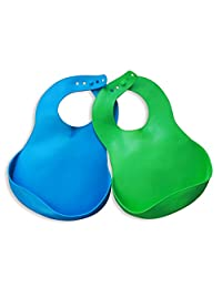 Vital Baby 2 Piece Easy Clean Wipeable Soft Bibs, Blue and Green