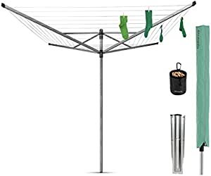 Brabantia Lift-O-Matic 50m outdoor clothesline, 50 meter, Metallic Grey