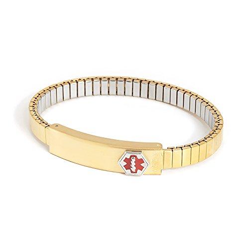 Speidel Medilog Medical Alert Bracelet with Expansion Band in Gold Tone (Engravable Medical Id Bracelet)
