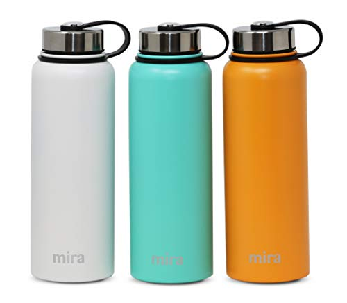 MIRA 22 Oz Stainless Steel Vacuum Insulated Wide Mouth Water Bottle with 2 Caps | Thermos Keeps Cold for 24 Hours, Hot for 12 Hours | Double Walled Powder Coated Travel Flask | Pumpkin