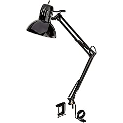 "Globe Electric 32"" Multi-Joint Desk Lamp with Metal Clamp, Black Finish, 56963"