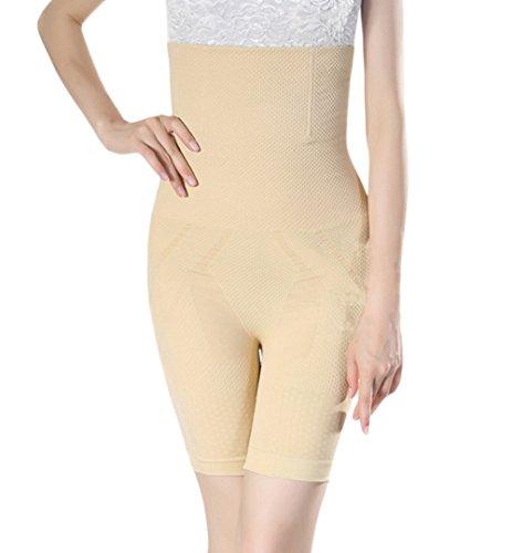 Shymay Women's Long Leg Slimmer Higher Power High-waist Mid-thigh Shapewear, Apricot, 16-18