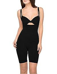 Seamless Long-Leg Underbust Bodysuit - Black - Large