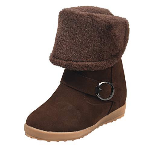 HebeTop  Winter Snow Boots Slip on Ankle Bootie Men Women Water-Resistant Anti-Slip Fur Lined ()