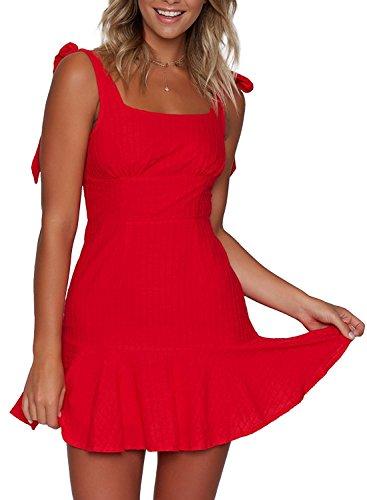 ZESICA Womens Summer Strap Bowknot Solid Color Backless A Line Beach Short Dress