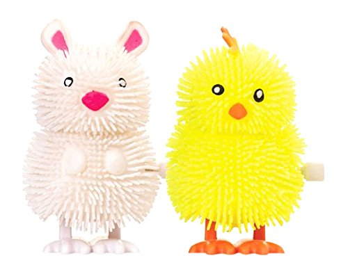 Clockwork Fuzzy Hopping Easter Puffer Chick or Rabbit Hopping Wind-Up (Rabbit Chick)
