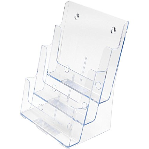 Deflecto Multi-Compartment Docuholder, Countertop or Wall Mount, 3-Tiered Literature Holder, Large Size, Clear, 9-1/2''W x 12-5/8''H x 8''D (77301)