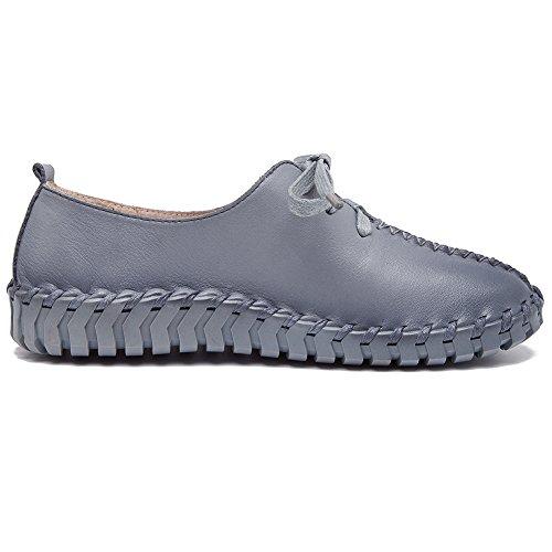 Shenn Damesslipjes Vetersluiting Comfortabele Casual Mode Sneakers Grijs