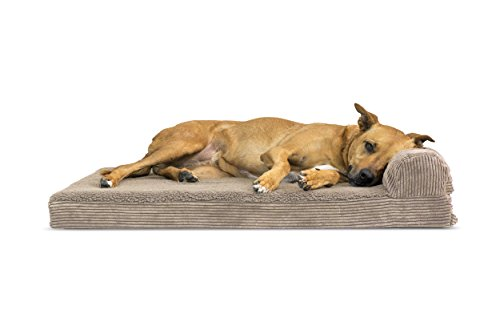 (FurHaven Pet Dog Bed | Memory Foam Faux Fleece & Corduroy Chaise Lounge Sofa-Style Pet Bed for Dogs & Cats, Sandstone, Large)