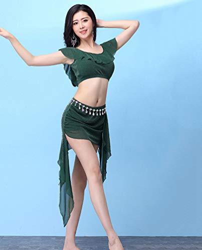 pour Tops avec Vtements Costume Jupe Orientale Femme Ventre Dance Belly Danse YiiJee du Vert 0RUZ4xznwq