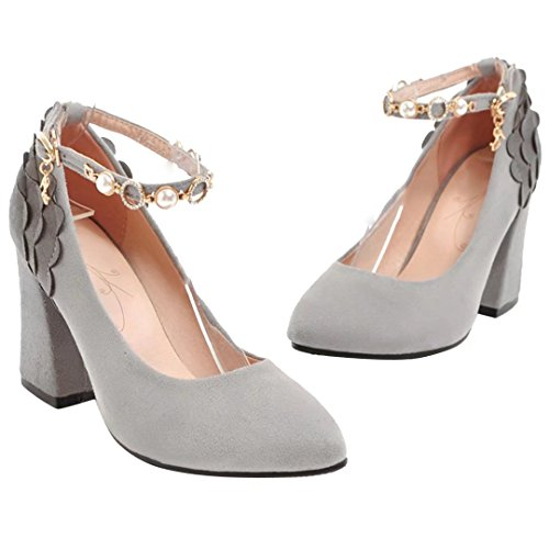AIYOUMEI Damen Blockabsatz Pumps mit Knöchelriemchen High Heels Damen Schuhe Elegant High Shoes Grau