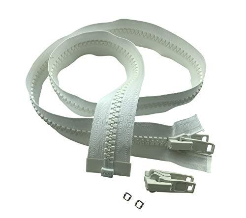 Premium Lenzip #10 Heavy Duty Zipper - Includes Double Plastic Zipper Slider + Stainless Steel Zipper Stops (White, 36