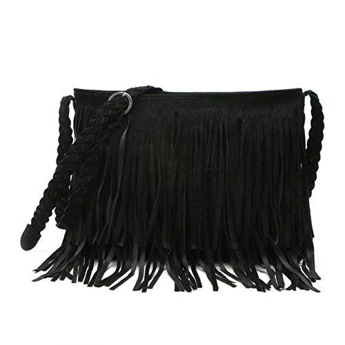 BEKILOLE Hippie Suede Fringe Tassel Messenger Bag Women Hobo Shoulder Bags Crossbody Handbag, Black Hippie Suede Shoulder Bag
