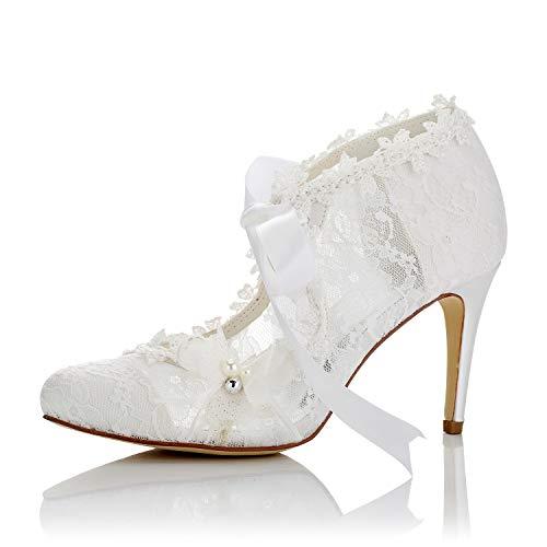 JIAJIA 16798 Women's Bridal Shoes Closed Toe High Heel Lace Satin Pumps Pearl Bowknot Ribbon Tie Wedding Shoes Color Ivory,Size 8 B(M) US/39 EU