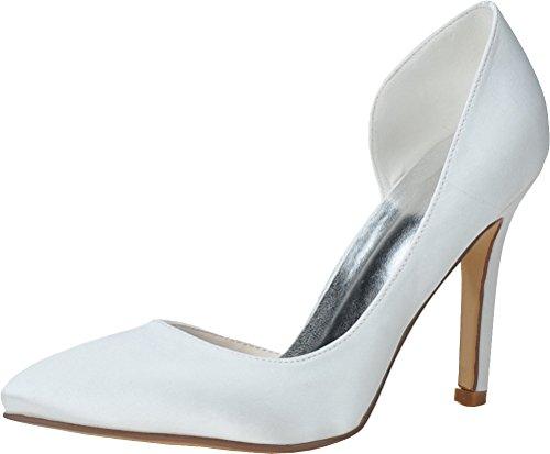 Dress Heeled Job Simple Bride Salabobo orsay Ladies Toe D Nightclub 0608 Pumps Work OL White Wedding 07 Pointed Satin 1q1R4wI