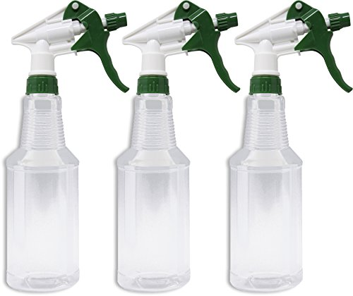 - Empty Plastic Spray Bottle 16 Ounce, Clear, Chemical Resistant with Green-White Sprayer for Chemical and Cleaning Solution, Adjustable Head Sprayer from Fine to Stream (Pack of 3)