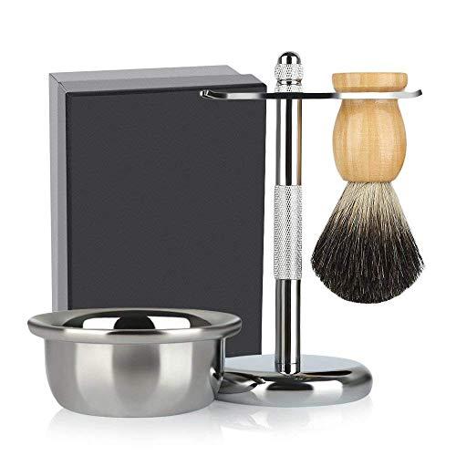 3 Pedazos que Afeitan Set, Incluyendo Brochas del Tejón, Tazón de Afeitar y Soporte de Afeitar para Maquinilla de Afeitar...